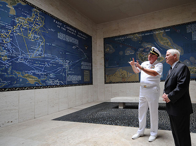 Maps of Fast Carrier Strikes and Guadacanal in the Memorial, American Military Cemetery, Manila (image)