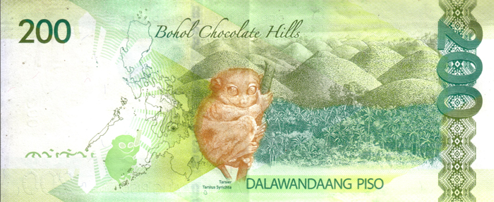 Chocolate Hills and Tarsier on Philippine 200 peso banknote (image)