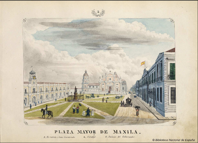 Plaza Mayor de Manila, 1847, showing Town Hall, Manila Cathedral, and Governor's Palace (image)